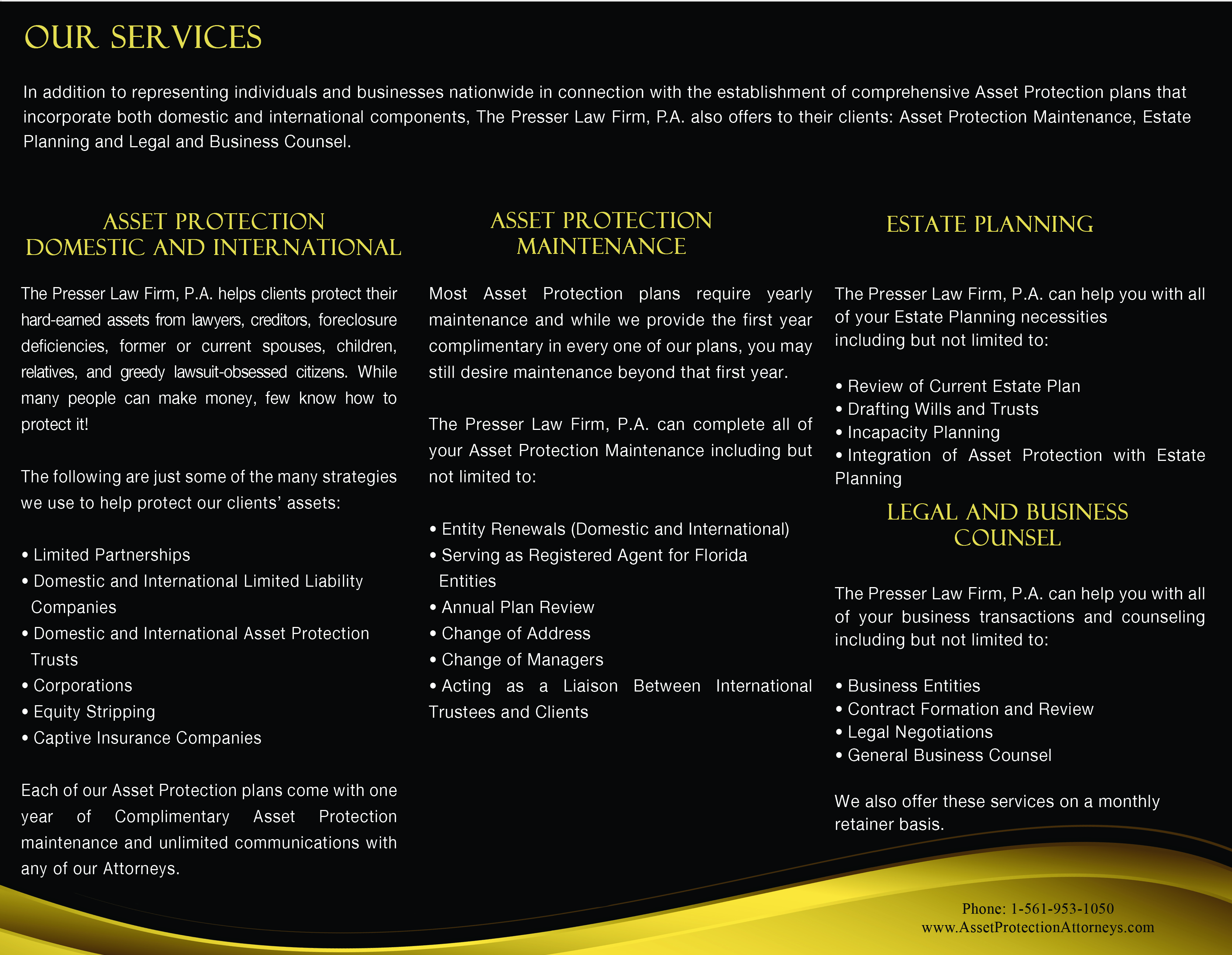 About Us Domestic Asset Protection Attorney – Law Firm Brochure